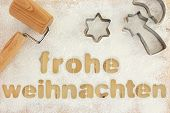 stock photo of weihnachten  - Frohe weihnachten baking preparation background - JPG