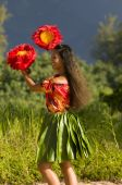 picture of hula dancer  - native Hawaii teenage girl dancing hula by the beach - JPG