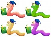 picture of storybook  - Illustration of the worms reading on a white background - JPG