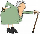 picture of bent over  - This illustration depicts an old woman bent over with an aching back - JPG