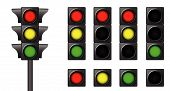 picture of traffic light  - The isolated traffic lights for combinations of road situations - JPG