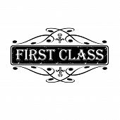 pic of first class  - First class label stamp calligraphic vector illustration - JPG