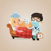 stock photo of home addition  - Doctor Visits a Sick Woman - JPG