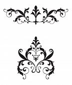 picture of scrollwork  - Delicate curvy leaf scroll scrollwork ornaments for wedding announcements or invitations or flourishes for page ornamentation with a Victorian vintage flavor - JPG