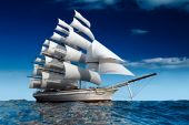 image of sloop  - Sailing Ship Sails on the day of a calm sea - JPG