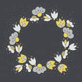 image of centerpiece  - Messy different colorful yellow gray flowers in round wreath on dark background with little dots retro botanical centerpiece illustration with place for your text - JPG