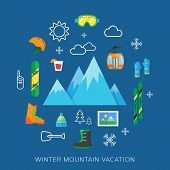 pic of ski boots  - Winter vacation flat vector icons set on a background - JPG