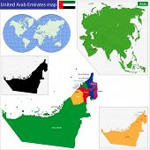 picture of emirates  - Map of the United Arab Emirates drawn with high detail and accuracy - JPG