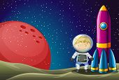 stock photo of outerspace  - Illustration of an explorer beside the rocket in the outerspace - JPG