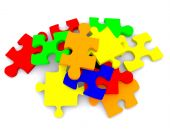 stock photo of tangram  - Colorful 3D pieces of puzzle isolated over a white background - JPG