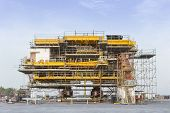 stock photo of erection  - Platform petroleum fabrication and erection work in onshore yard - JPG