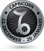 stock photo of capricorn  - Capricorn zodiac silver sign virgo symbol vector illustration - JPG