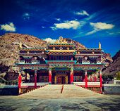 stock photo of himachal  - Vintage retro effect filtered hipster style travel image of Buddhist monastery in Kaza - JPG