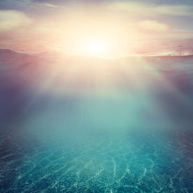 stock photo of liquid  - Summer background. Underwater sea view. Ocean water surface. ** Note: Visible grain at 100%, best at smaller sizes - JPG