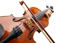 stock photo of musical instrument string  - Photo violin made with the camera angle view violinist  - JPG