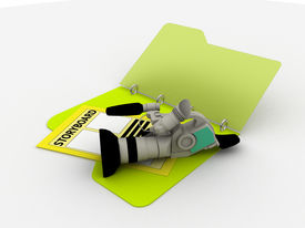 stock photo of storyboard  - illustration of video camera and storyboard in a folder - JPG