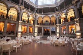 stock photo of banquet  - galleries with classic equipment for banqueting and catering - JPG