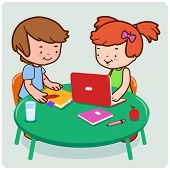 stock photo of homework  - Vector Illustration of a girl and a boy students doing  their homework - JPG