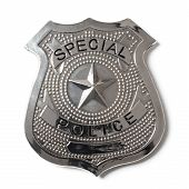 stock photo of police  - Special police badge with clipping path isolated on white - JPG