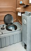 pic of septic  - The inside of a clean portaloo often hired to be used at festivals and building sites - JPG