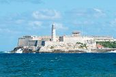 stock photo of el morro castle  - The famous castle of El Morro in Havana  on a beautiful clear day - JPG