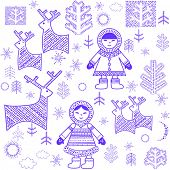 stock photo of eskimos  - Winter wallpaper with Eskimo - JPG