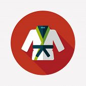 pic of jiujitsu  - Karate Suit Flat Icon With Long Shadow - JPG