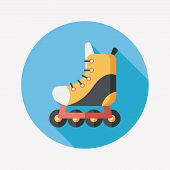 pic of roller-skating  - Roller Skates Flat Icon With Long Shadow - JPG