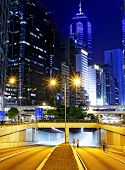 foto of hong kong bridge  - Modern city traffic night - JPG