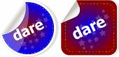 stock photo of daring  - dare word stickers web button set label icon - JPG