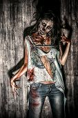 image of terrific  - Furious bloody zombie girl - JPG