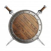 foto of crossed swords  - medieval old wooden vikings - JPG