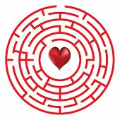 stock photo of lost love  - Love heart maze or labyrinth valentine - JPG