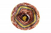 stock photo of beret  - Knitted colorful ornamental beret isolated over white - JPG