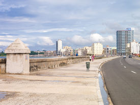 pic of malecon  - The skyline of Havana with a view of the famous Malecon seawall - JPG