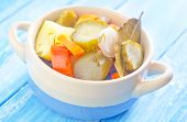 foto of pickled vegetables  - pickled vegetables in a bowl on the kitchen table - JPG