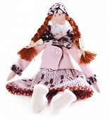 picture of rag-doll  - Handmade doll isolated on white - JPG