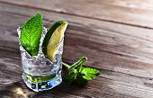 picture of peppermint  - cocktail with lime ice and peppermint leaves - JPG