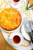 picture of upside  - apple upside down sponge cake and cups of tea - JPG
