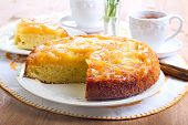 pic of upside  - Apple upside down sponge cake selective focus - JPG