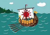 pic of viking ship  - illustration of a ship sailing on the oars with people - JPG