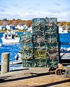stock photo of lobster boat  - Crab or lobster pots on quayside in Maine - JPG