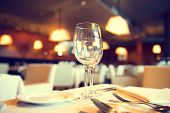 stock photo of reflection  - Served dinner table in a restaurant - JPG