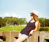 image of independent woman  - Trendy Hipster Girl Relaxing in the Park - JPG