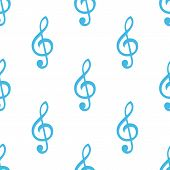 stock photo of clefs  - Treble clef white and blue seamless pattern for web design - JPG