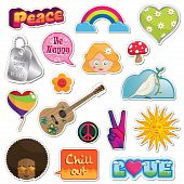 picture of peace-sign  - collection of peace and love stickers isolated on white - JPG