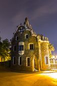 foto of gaudi barcelona  - Park Guell in Barcelona Spain in a summer night - JPG