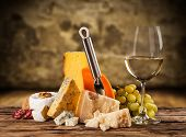 picture of brie cheese  - Various kind of cheese with white wine - JPG