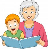image of grandmother  - Illustration of a Grandmother Reading a Book to Her Grandson - JPG