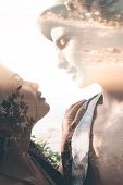 picture of combine  - Double exposure portrait of tender couple combined with photograph of sunset - JPG